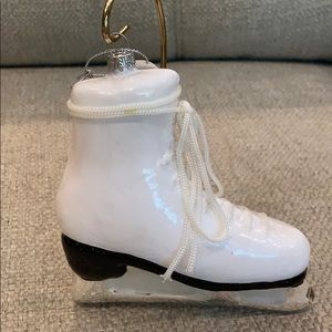"""White Glass Ice Skate with Lace Bow Tie 5""""…"""